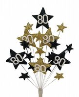 Star age 80th birthday cake topper decoration in black and gold - free postage